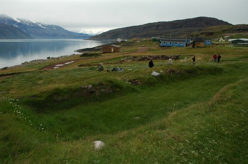 Site of Erik's longhouse at Brattahlid in Greenland