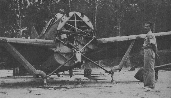 Japanese airman with abandoned RAF Buffalo