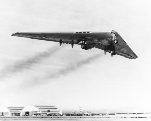 YB-49 taking off