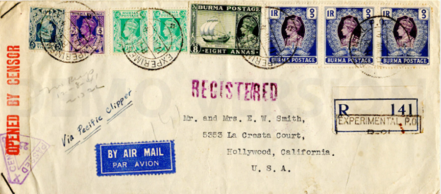 Envelope mailed from Burma, 1941